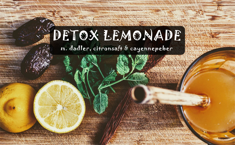 """ Opskrift på """"detox-lemonade"""" med dadler, citronsaft & cayennepeber"""