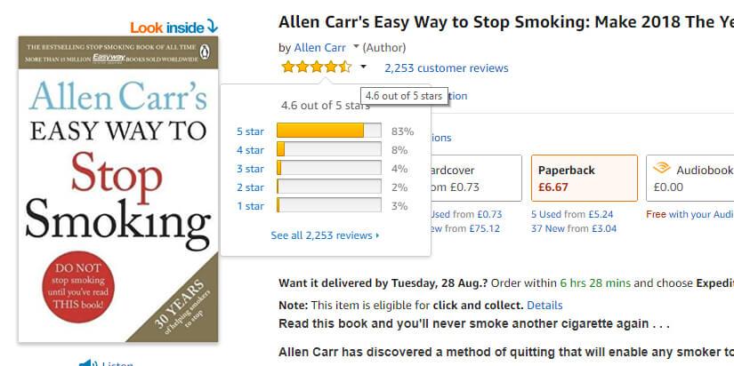 Easyway Amazon-anmeldelser af rygestopbog