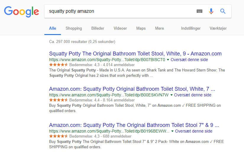 Squatty Potty anmeldelser / erfaringer på Amazon.co.uk